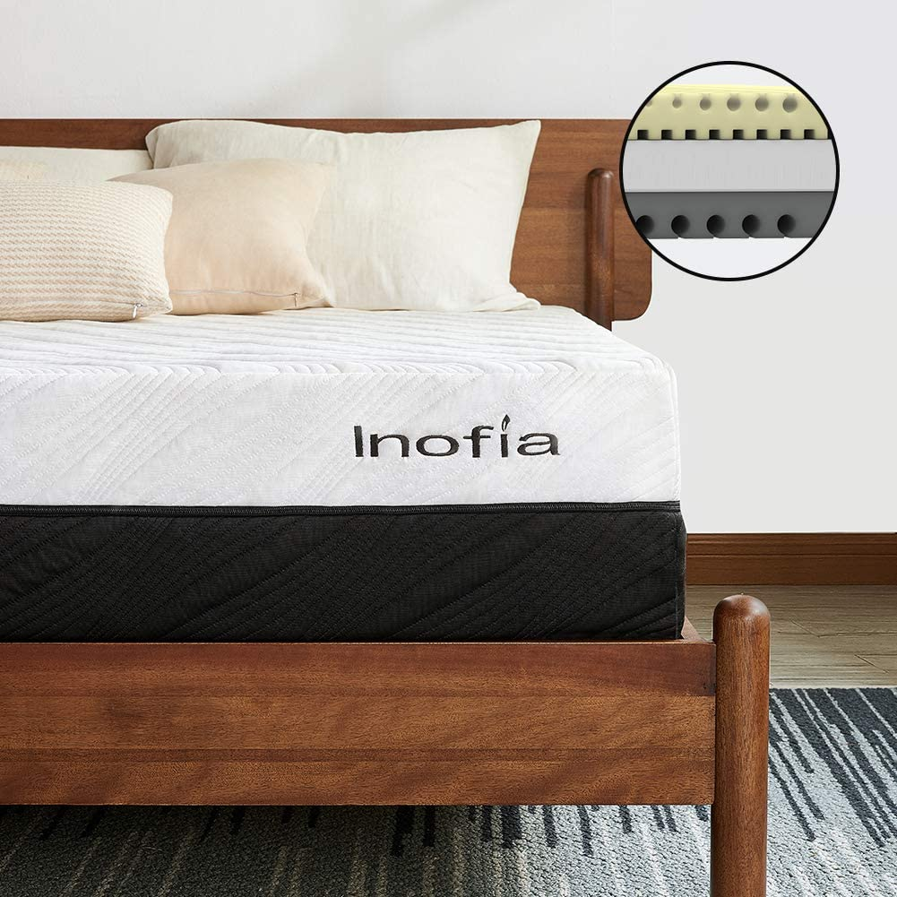 Inofia 10 Inch Memory Foam Mattress Bed 2 in 1 - inofia