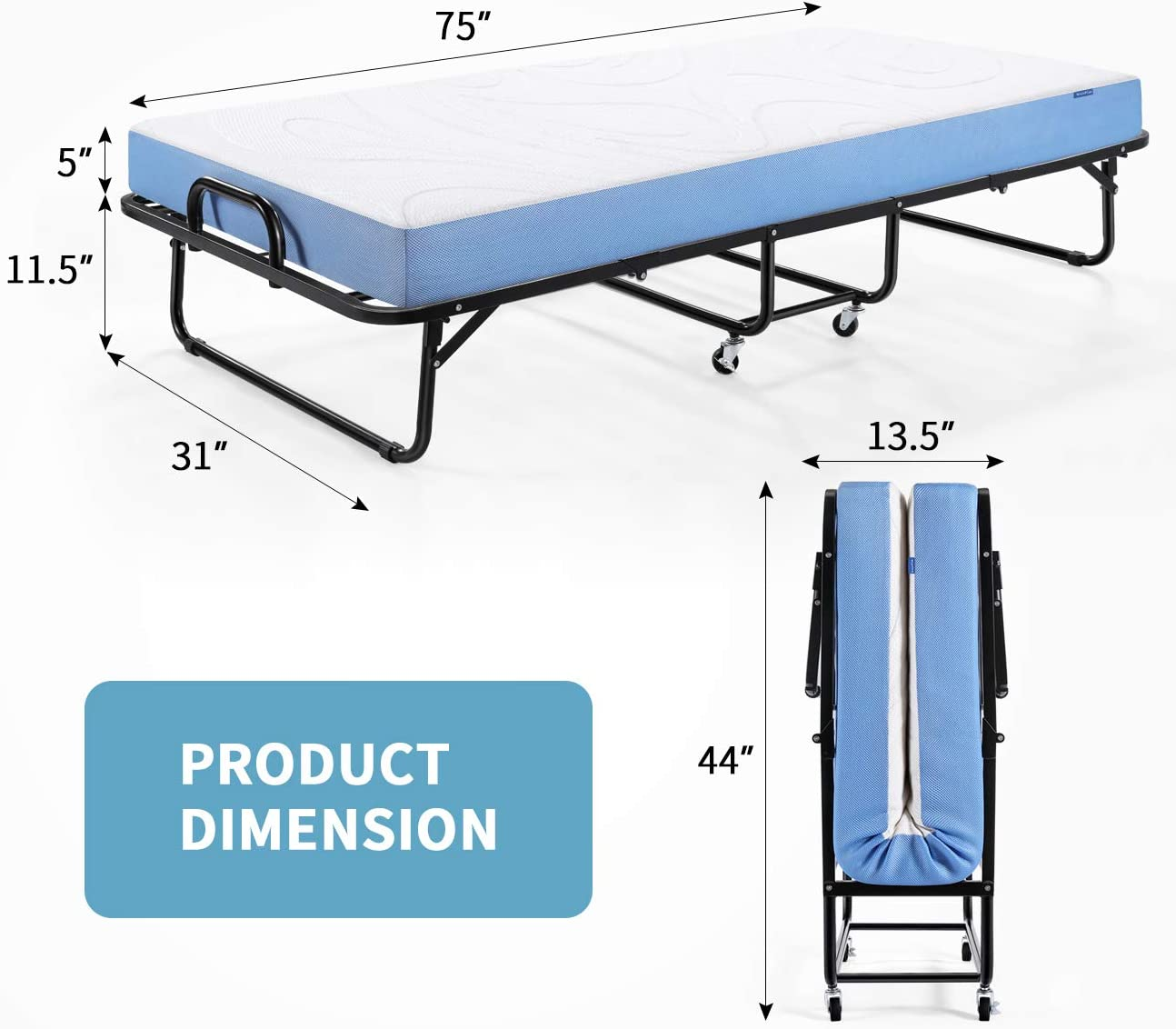 Inofia Twin Folding Bed with 5 Inch Memory Foam Mattress - inofia