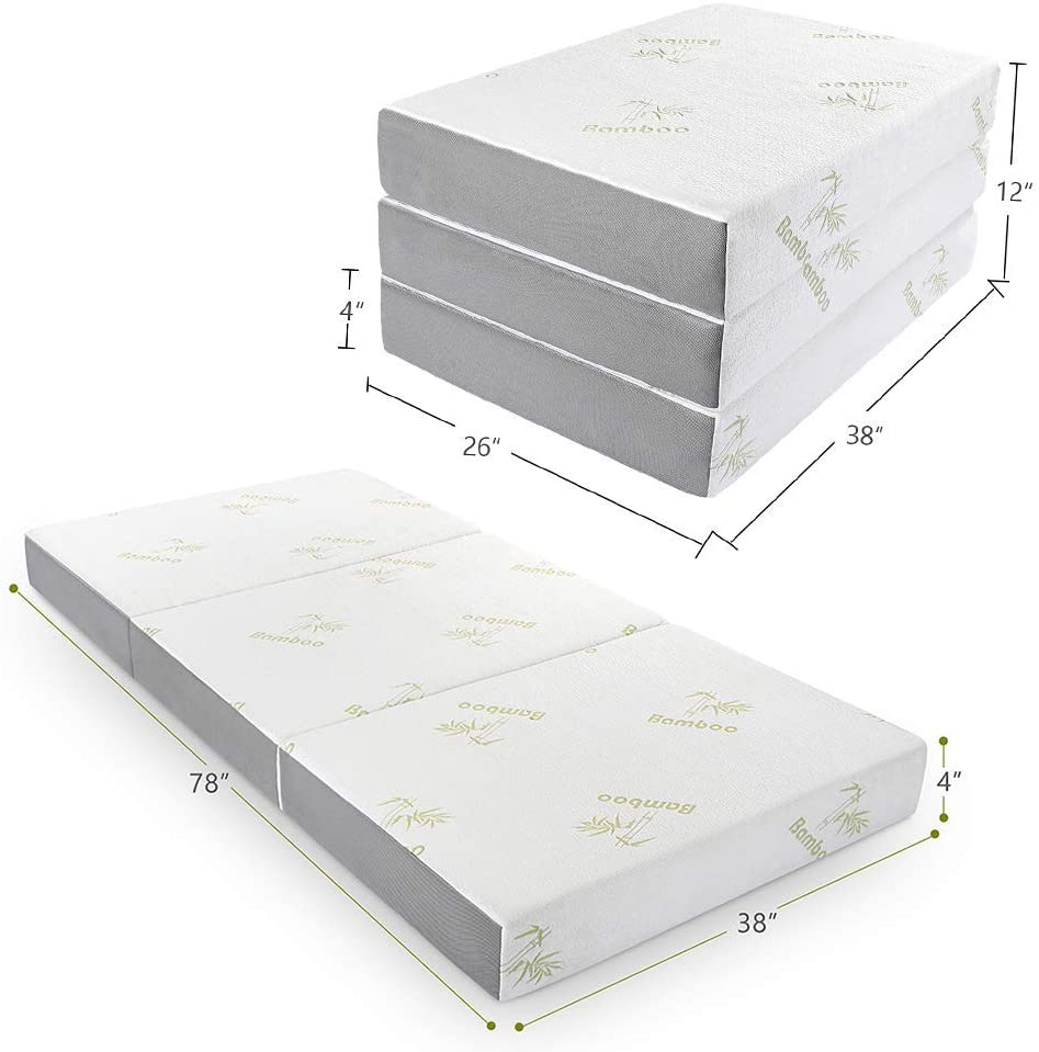 Inofia 4 Inch Tri Folding Memory Foam Mattress with Washable Cover - inofia