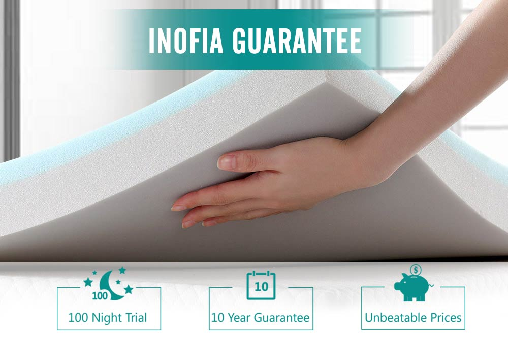 "Inofia 2.5"" Memory Foam Mattress Topper Twin & Queen Size"