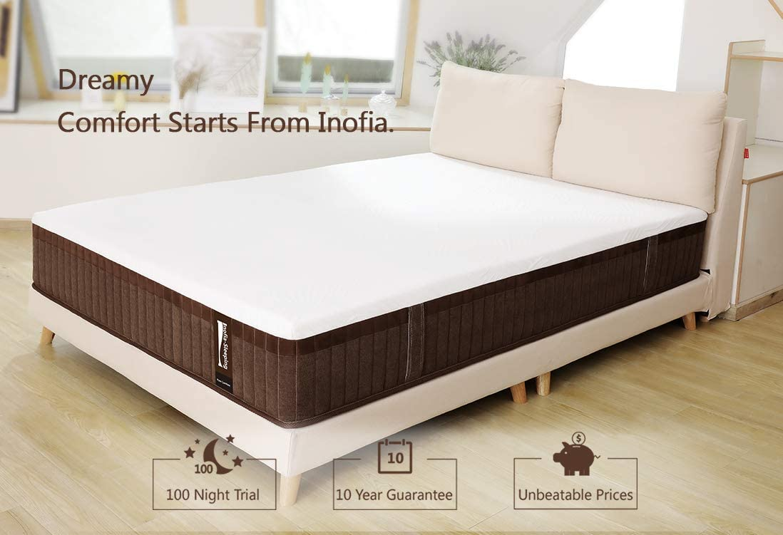 Inofia Full&Twin&Queen&King Size Hybrid Mattress with Memory Foam 11.4 Inches - inofia