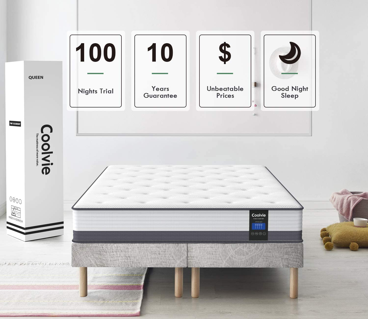 Coolvie 10 Inch Gel Memory Foam Hybrid Mattress - INOFIA US
