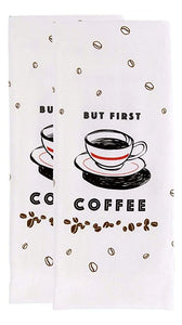 Cuisinart But First Coffee Reversible Dual 2 Piece Kitchen Tea Towel S Aura In Pink