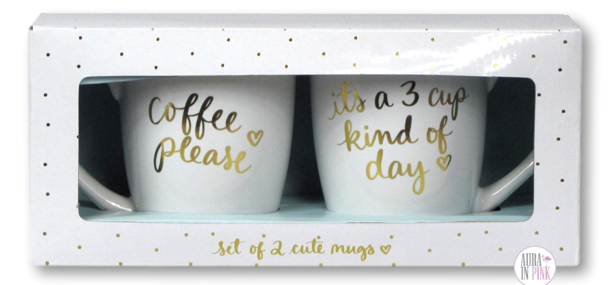 Eccolo Dayna Lee Collection Large Inspirational Coffee Mug Set Coffe Aura In Pink