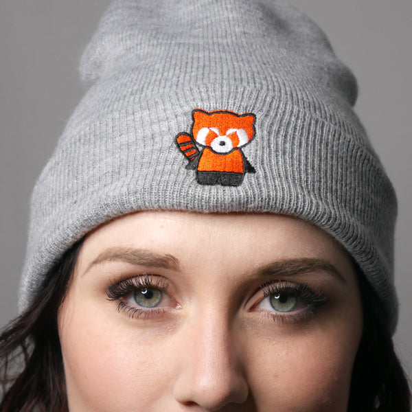 kawaiiaf cute beanie grey kap red panda hat