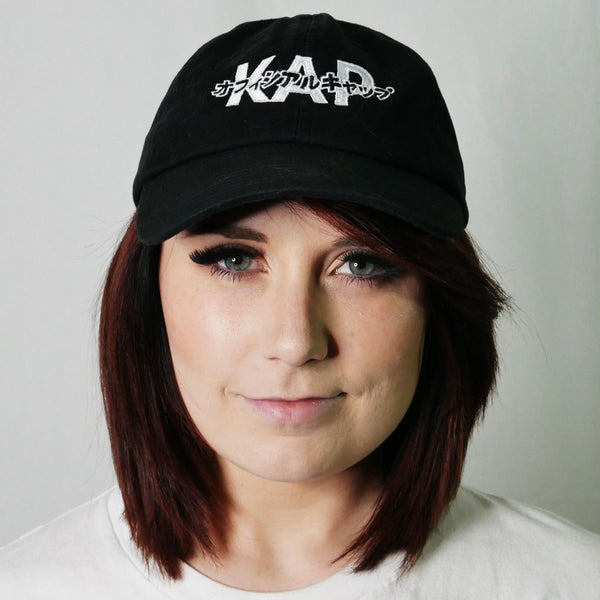 red panda dad hat kap official katakana logo cap black front kana