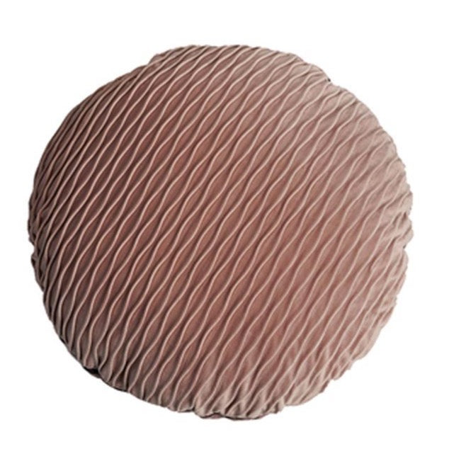 Pleated round cushion - Dusty rose