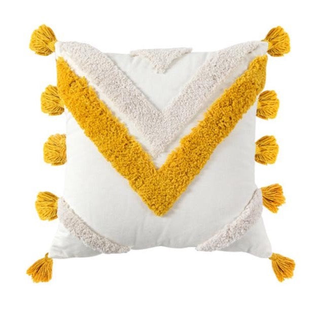 Tufted cushion - yellow