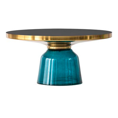 Oliver gold trim glass coffee table - Blue