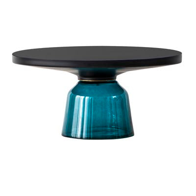 Oliver black trim glass coffee table - Blue