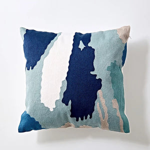 Embroidery cushion - Blue brushstrokes