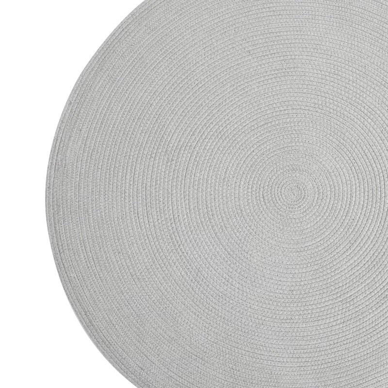 Woven grey round rug - solid grey (size customisable)