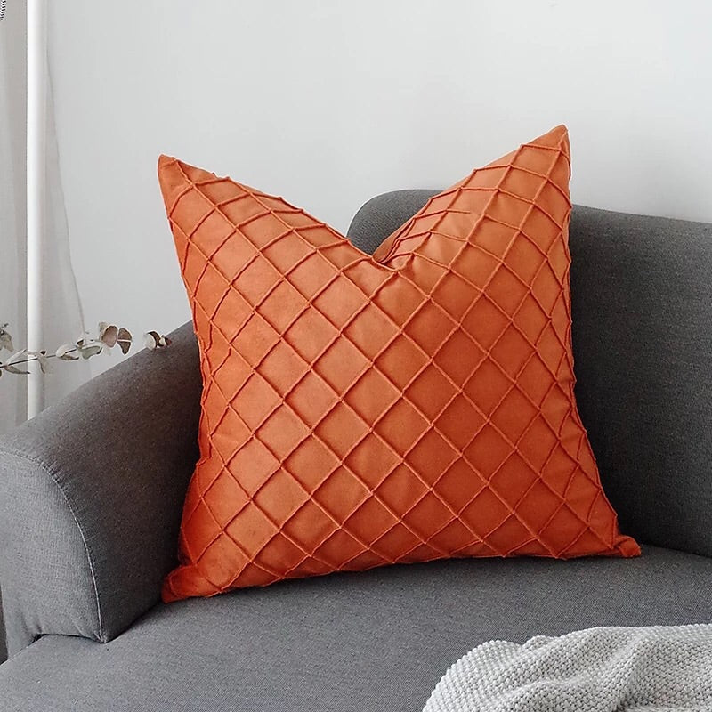Waffle velvet cushion - orange