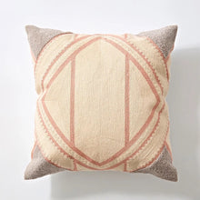 Embroidery cushion - Pink geometric
