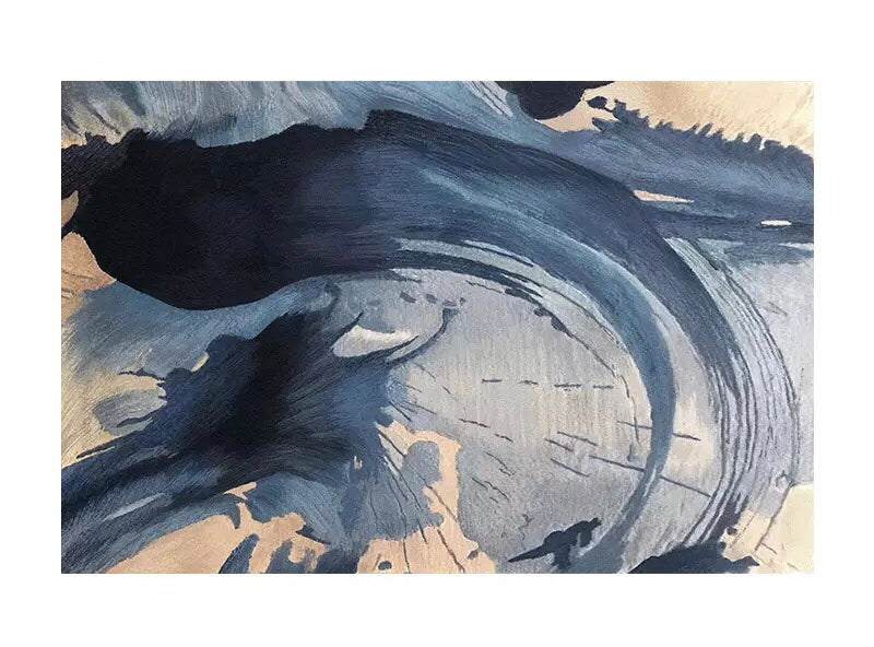 Watercolour look rug - wave (size customisable)