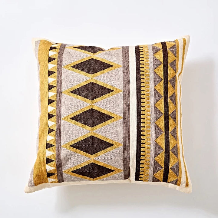 Embroidery cushion - Yellow diamond