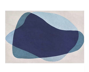 Tonal blue graphic rug (size customisable)