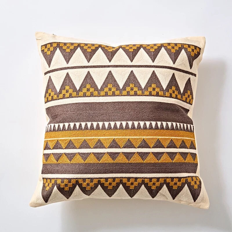 Embroidery cushion - Yellow aztec