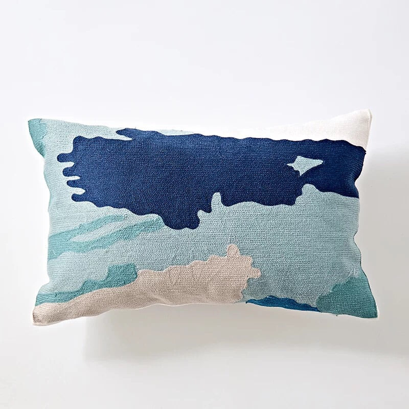 Embroidery cushion - Blue brushstrokes long