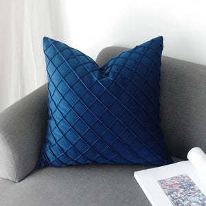 Waffle velvet cushion - midnight blue