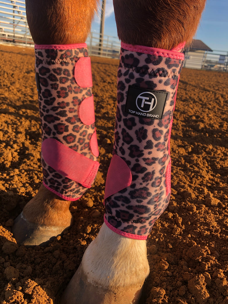 Cheetah and Pink Sport Boots (Sold in Pairs)