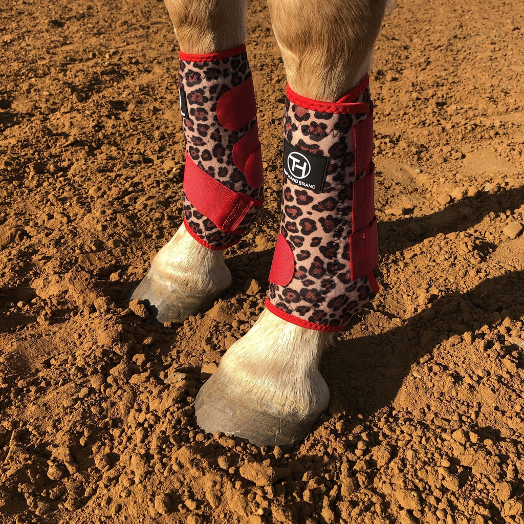 Leopard/Red Sport Boots