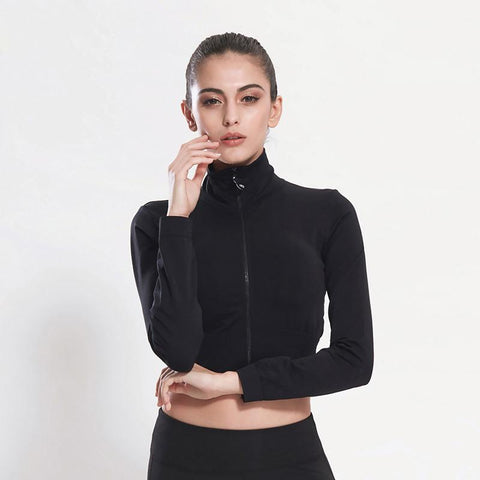 Sweatshirt / Jacket - Gymclothing.store (Crop Top Sport Long Sleeve Sexy Jacket)