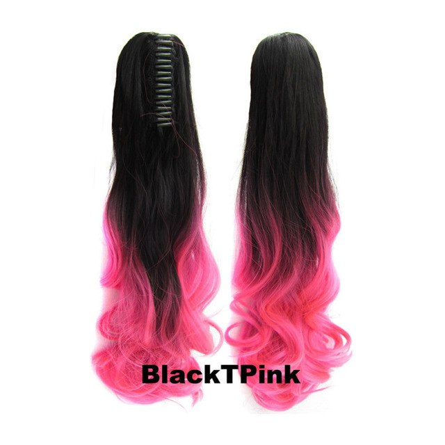 Hair Extensions Long Brown Bright Pink Tips Ebay