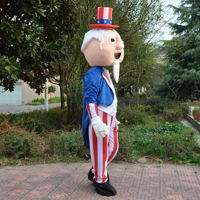 USA Red White and Blue 4th of July  Uncle Sam Mascot Costume