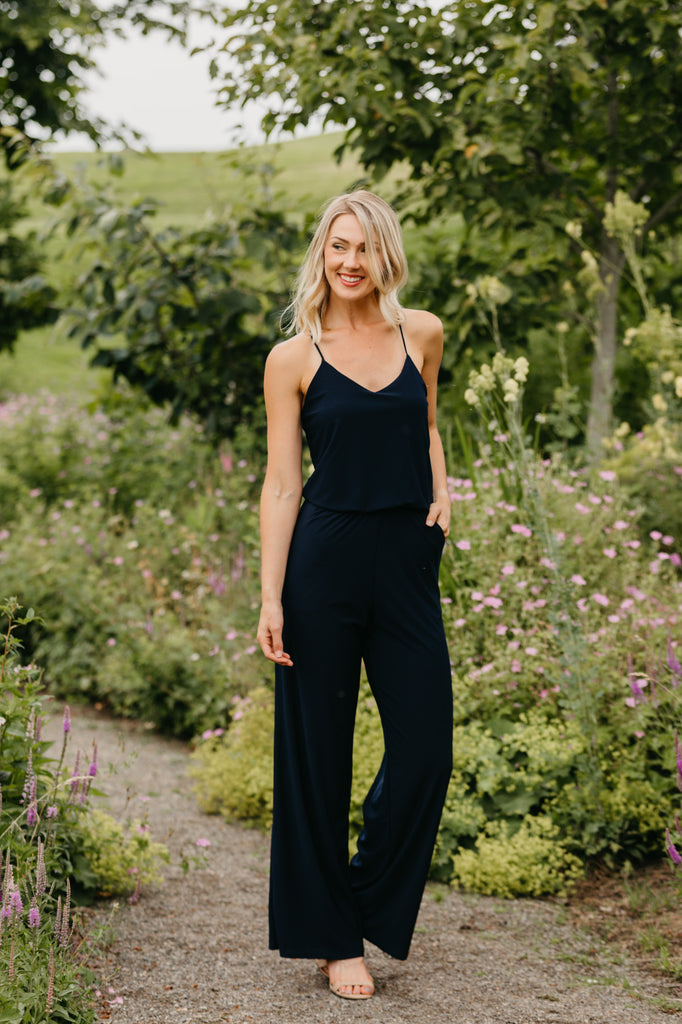 WALK OF STYLE NAVY JUMPSUIT