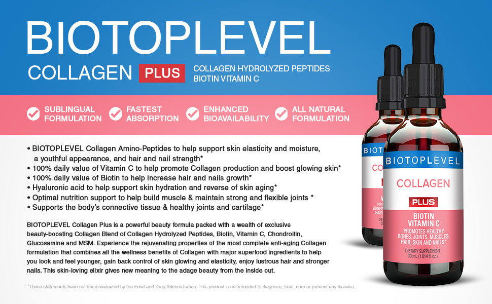 Liquid Collagen Peptides, Biotin, Vitamin C - BIOTOPLEVEL