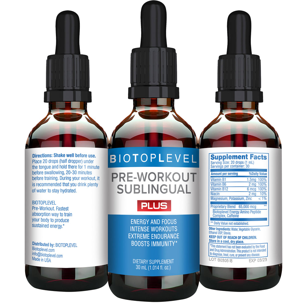 Pre-Workout Sublingual. Nitric Oxide Booster & Immune Booster - BIOTOPLEVEL