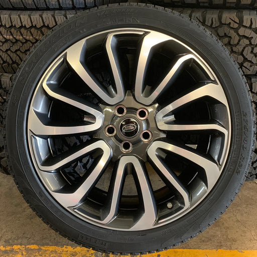 "Genuine Land Rover Range Rover Turbines 22"" Diamond Polished Alloy Wheels & Tyres x4"