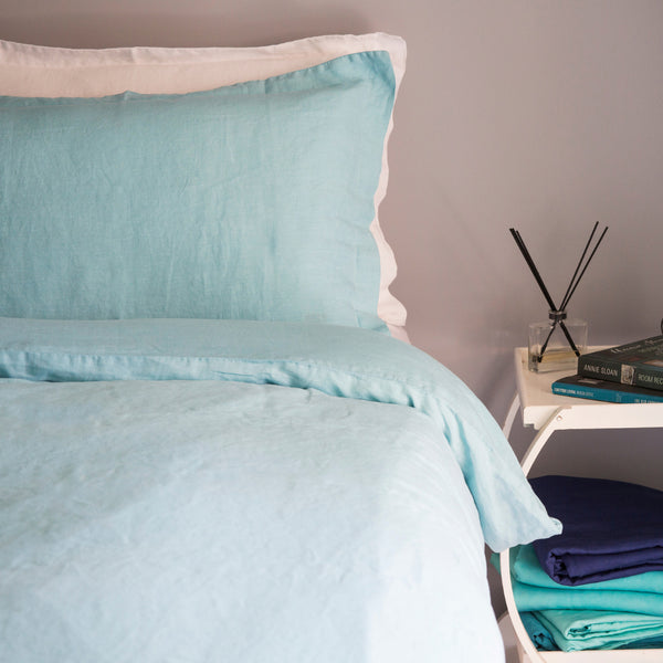 French Linen Duvet Set – Marine
