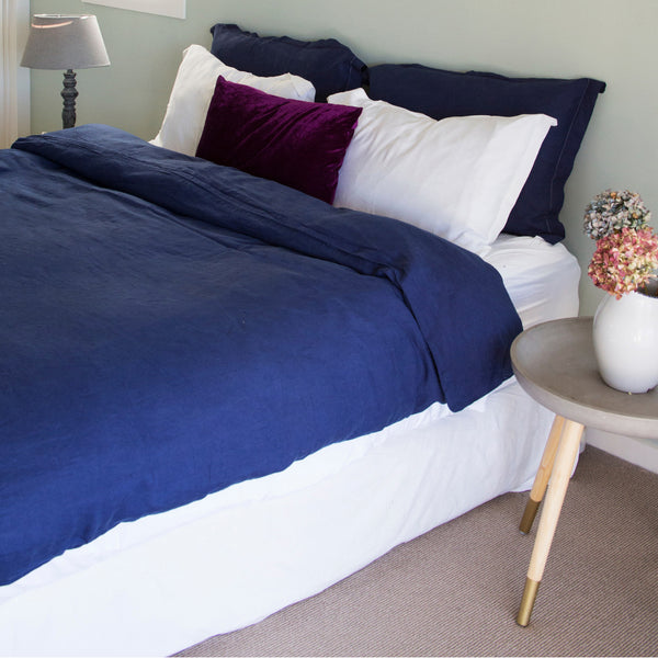 French Linen Duvet Set – Navy