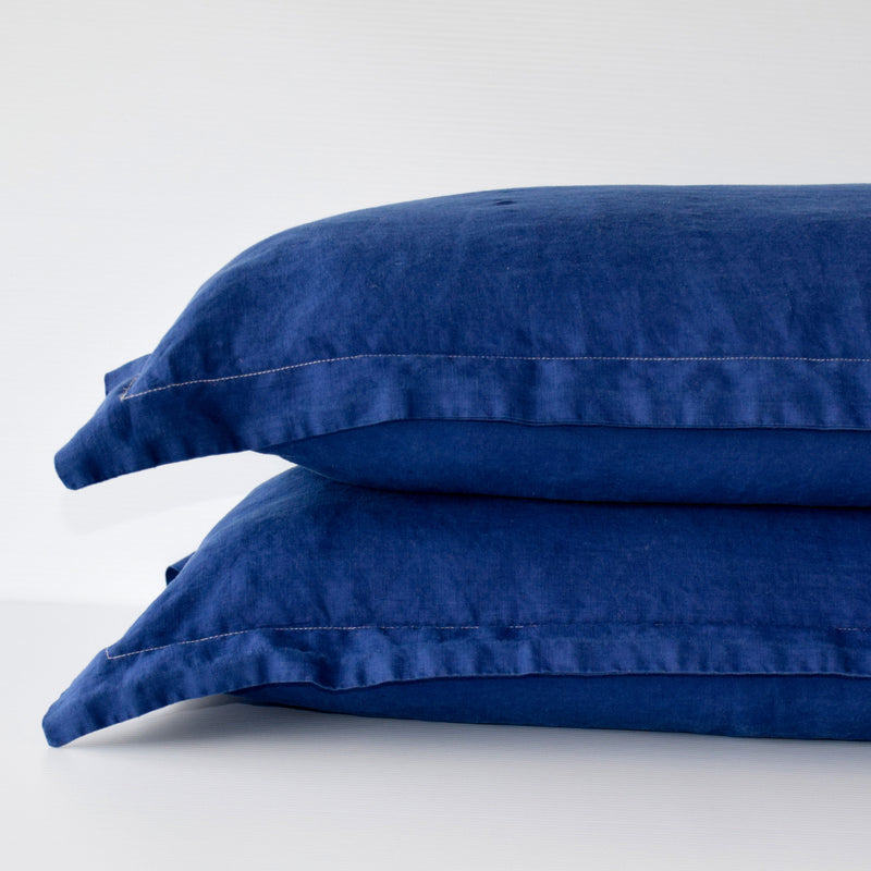 French Linen Pillowslip Set - Navy