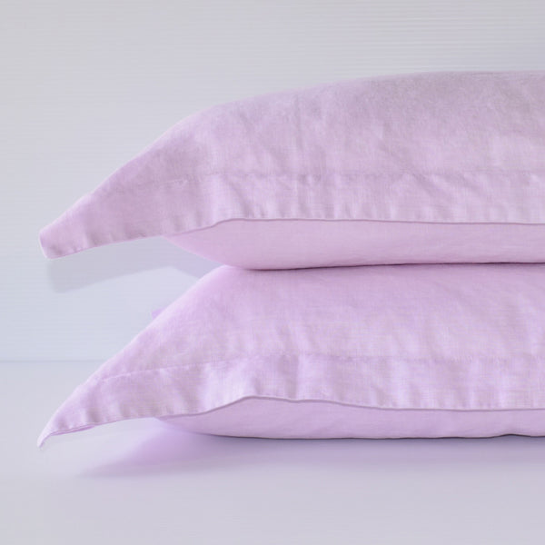 French Linen Pillowslip Set - Rose