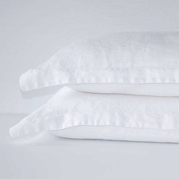 French Linen Pillowslip Set - White