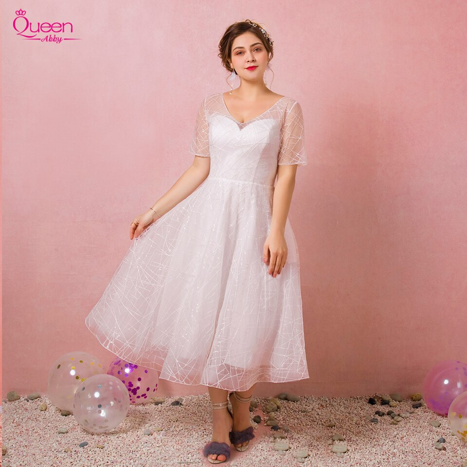 2019 New Elegant Tulle Plus Size Evening Dress Homecoming Dress V-neck Illusion Tea-length Dress Lace-up Dress