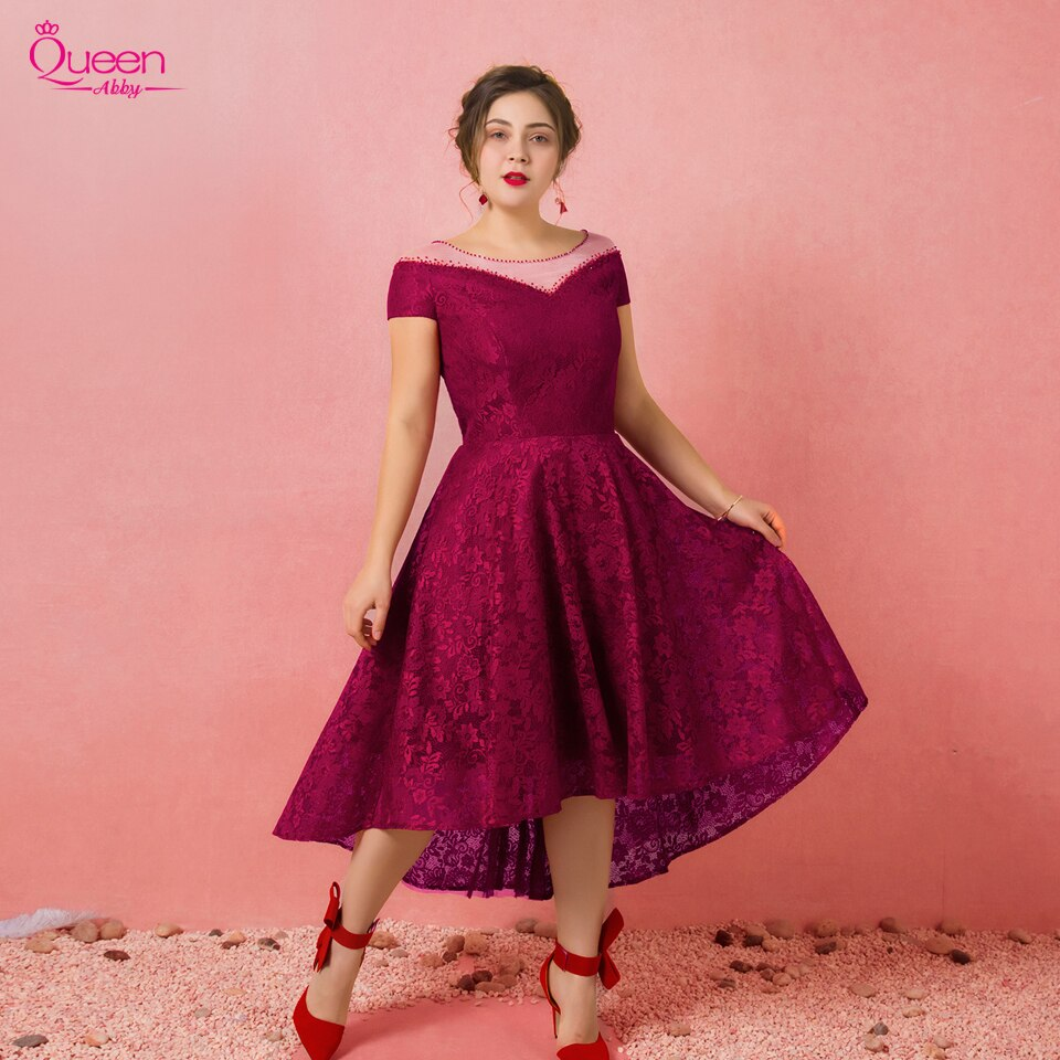 2019 Elegant Lace Plus Size  Bright Color Short Sleeves Scoop Asymmetrical Hem Dress Lace-up Sweet Dress