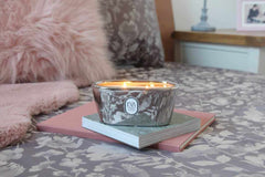 The pictue of luxury scented UK candle for blog about Hygge, handpoured in Wimbledon, natural soy wax, vegans friendly, long clean burn.