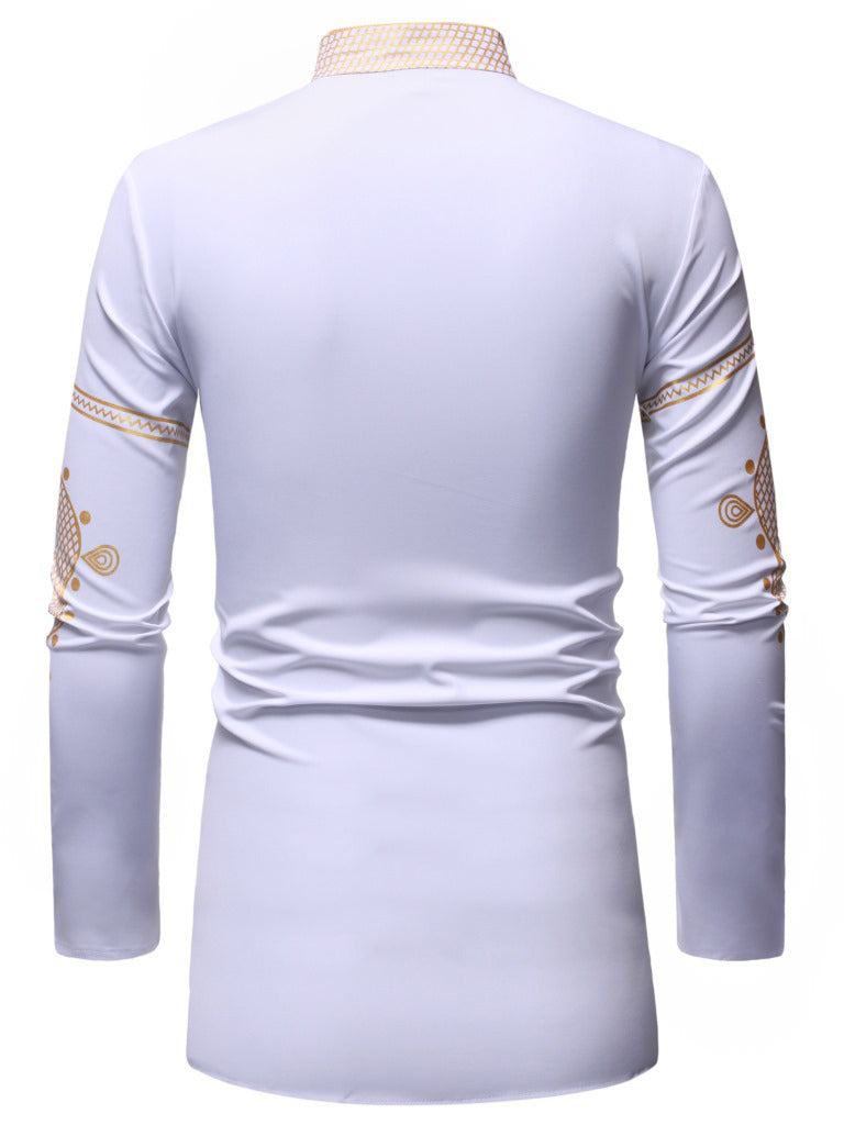White Bronzing Pattern Shirt