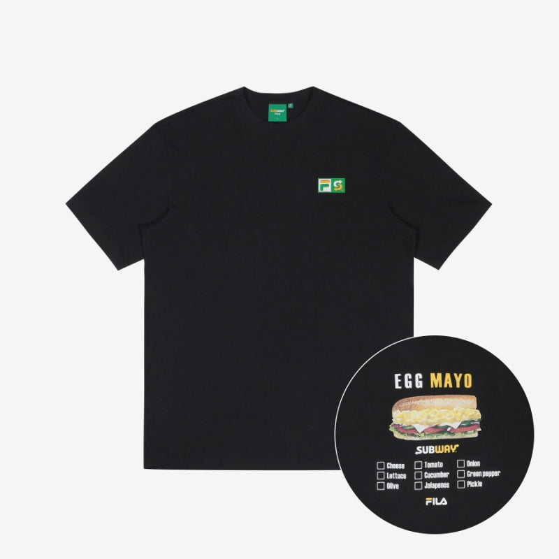 FILA Korea x SUBWAY Checkbox Egg Mayo Tee Black