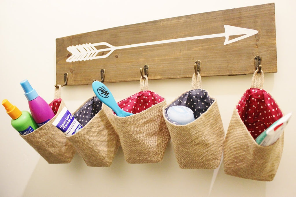Sack Cloth Hanging Non Woven Storage Basket (Set of 3)