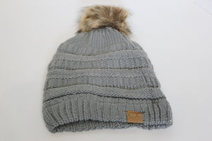 CC Knitted Beanie With Furry Pom