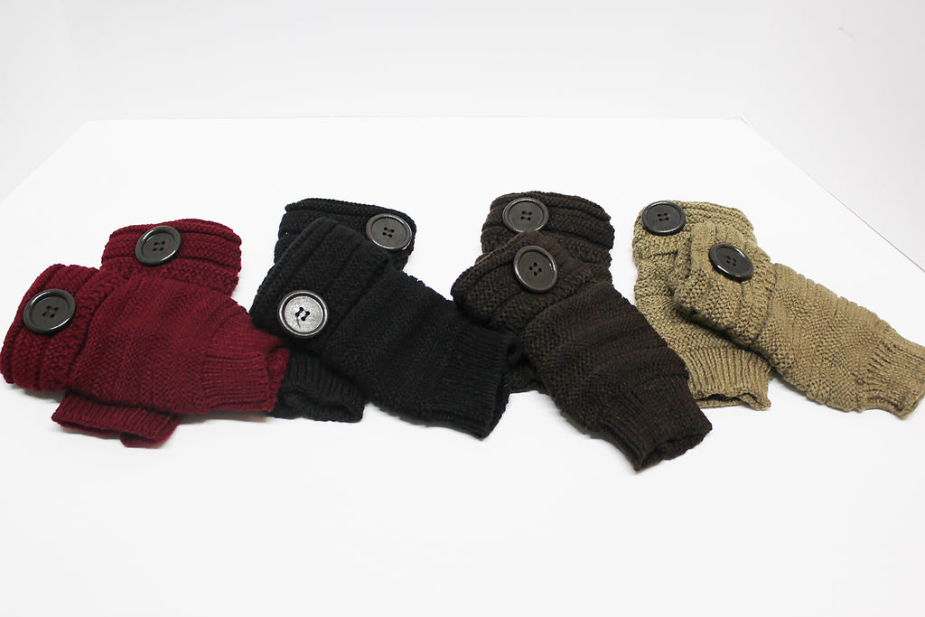 Fingerless Gloves With Button Accent