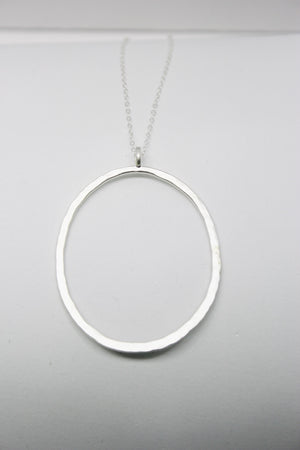 SILVER LARGE OVAL PENDANT LONG CHAIN NECKLACE
