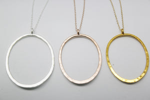LARGE OVAL PENDANT LONG CHAIN NECKLACES