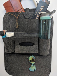 Car Seat Back Multi-Pocket Storage Bag Organizer Dark Grey