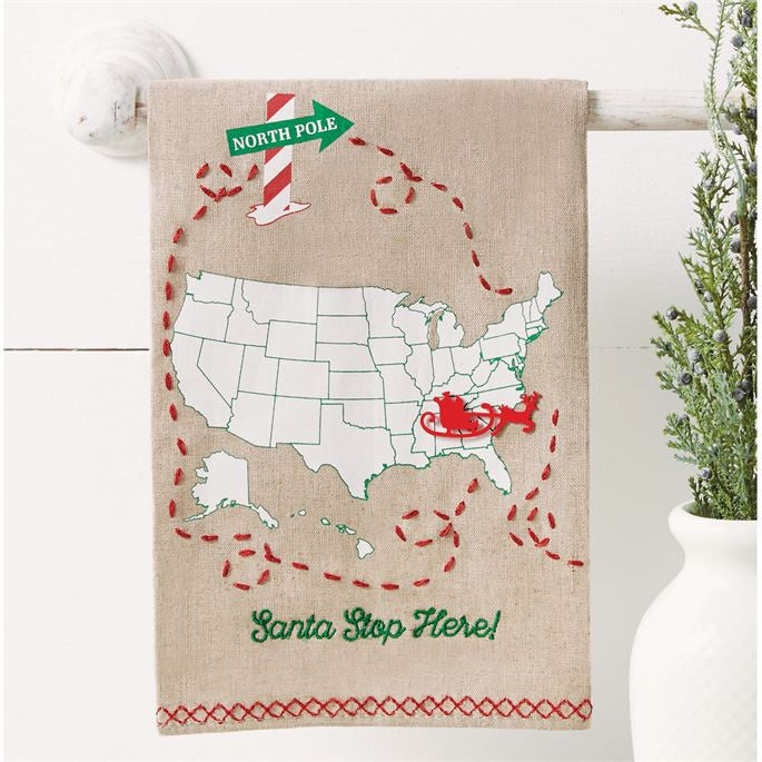 MUD PIE SANTA STOP TEA TOWEL
